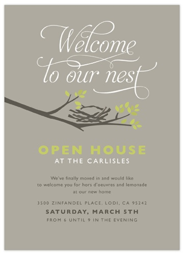 Good idea:House warming party invite - when moving to a new neighborhood, this might be a good way to meet the neighbors...
