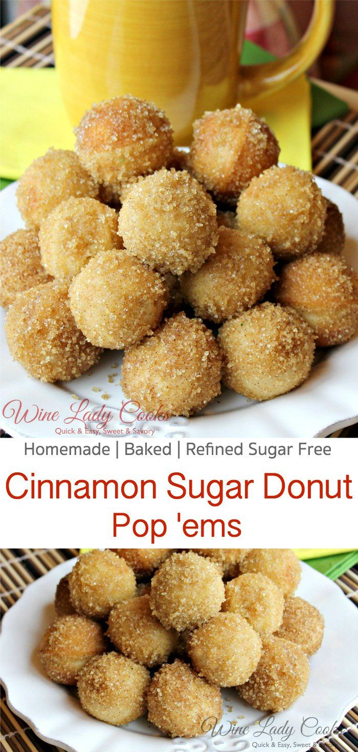 Sugar Donut Pop'ems easy for breakfast, snacks or add to a party buffet. Click thru for easy recipe. #cinnamon #sugar #muffins #donuts