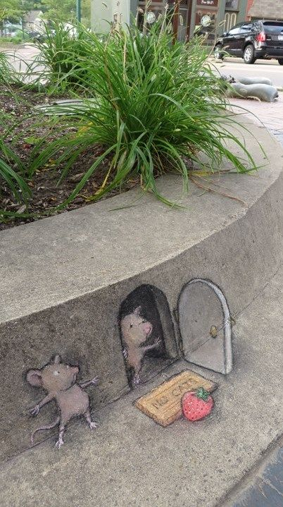 Chalk Artist David Zinn - At Village of Dexter, Michigan. (August 25, 2014)