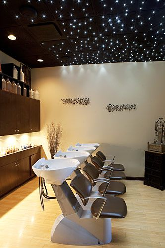 Shampoo experience area. Relax under starry lights while your stylists use the finest Aveda products recommended for your hair type.