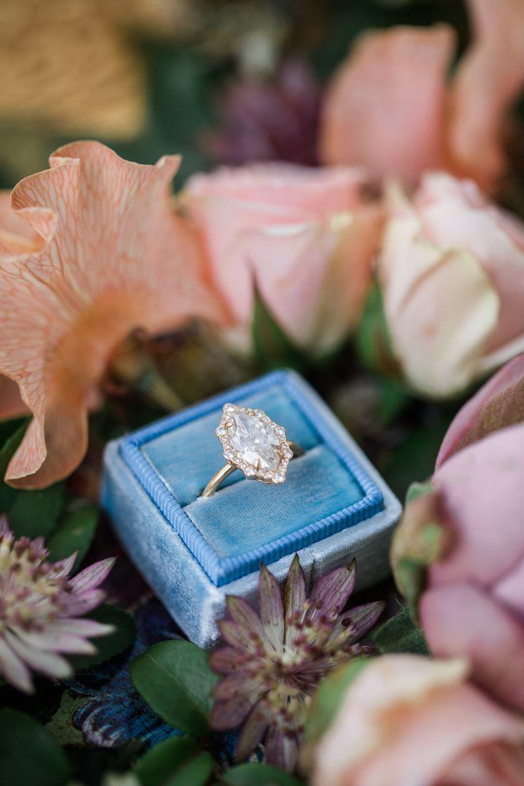 Elegant gold marquise-cut engagement ring: Utterly Romantic Spring Bridal Shoot
