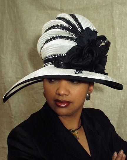 black and white church hat