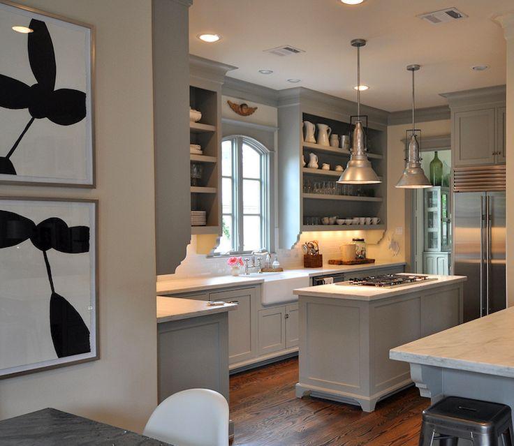 Sally Wheat Interiors   Kitchens   Benjamin Moore   Fieldstone   Farmhouse  Sink, Kitchen Island, Open Shelves, Gray Kitchen Cabinets, Gray K.