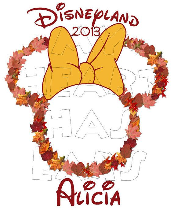 Printable DIY Fall leaves Autumn Thanksgiving Minnie Mouse ...