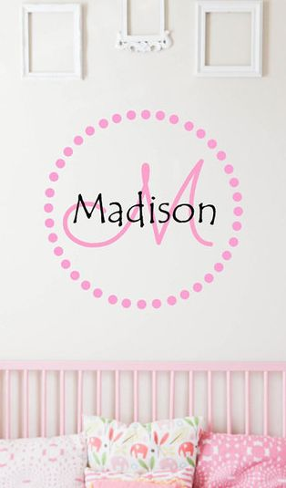 The vinyl company soft pink dot circle personalized decal