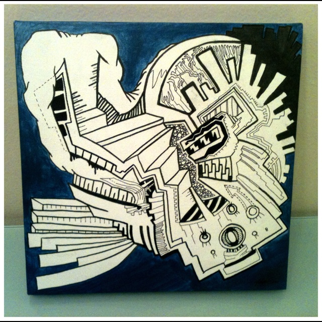 sharpie n acrylic on canvas