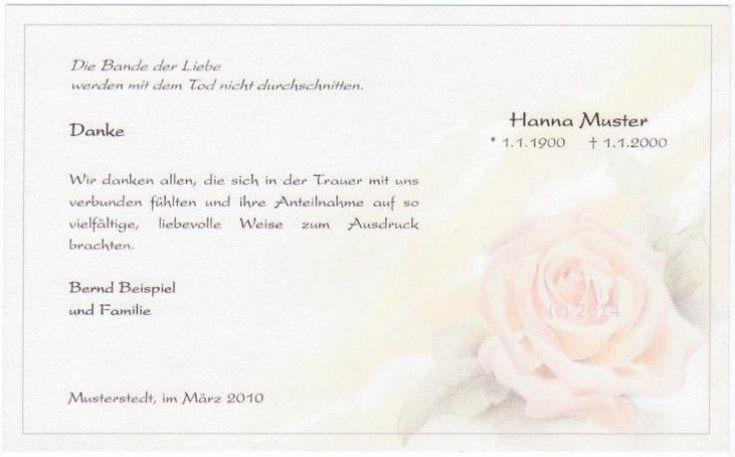 Trauerkarte Danksagung Beerdigung - Rose pastell mit individuellem Druck