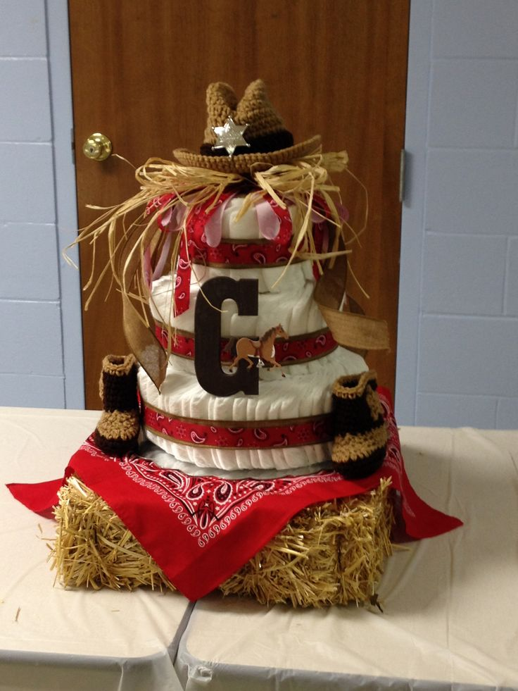 Cowboy diaper cake for baby shower!