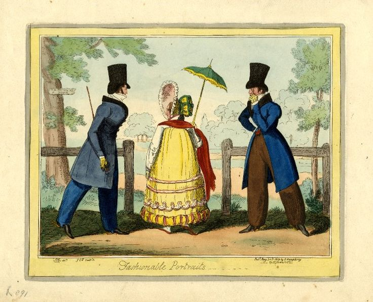 1819 May, 30th. 'Fashionable portraits.' Hand-coloured etching by George Cruikshank. britishmuseum.org