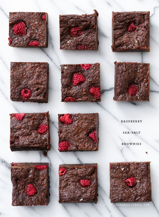 Super thick Raspberry Sea Salt Brownies with tart fresh raspberries and a sprinkle of sea salt on top.
