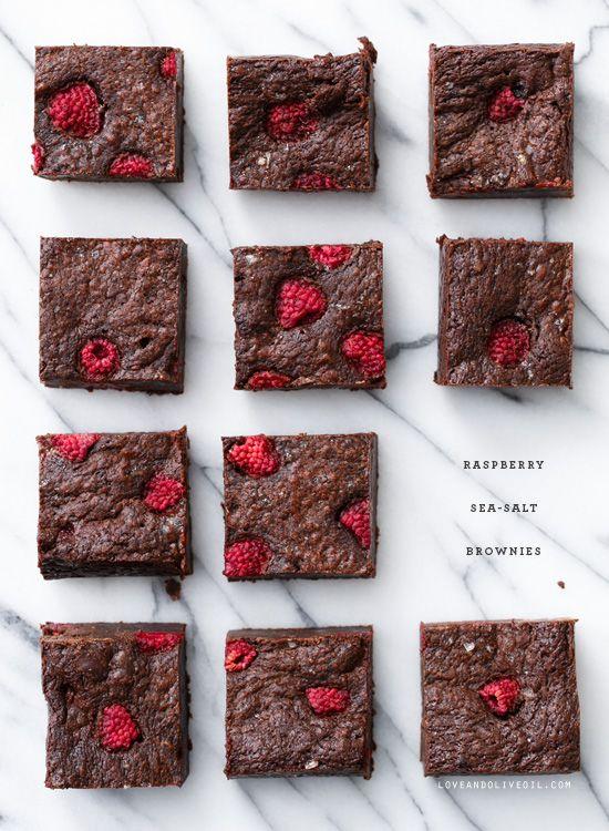 Raspberry Sea Salt Brownies from @LoveAndOliveOil   Lindsay Landis   Lindsay Landis   Lindsay Landis