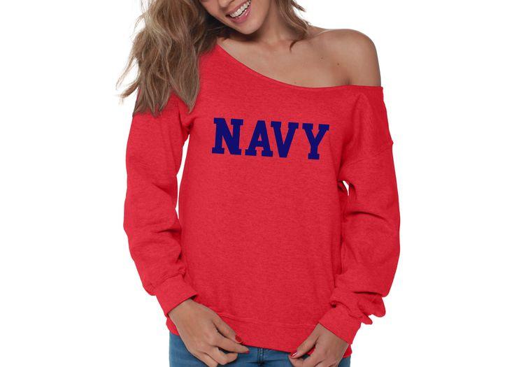 Navy Womens Off the Shoulder Sweatshirt Slouchy Top Military Proud TShirt, SweatShirt for Women - 2XL White 2