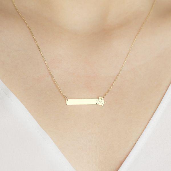 10k Solid Gold Bar Monogram Name Bar Engrave Name Necklace Bar Pendant Necklace Solid Gold Necklace Pendant Design