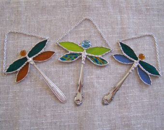 Stained Glass Dragonfly Ornament Suncatcher Window Hanging