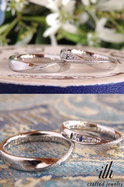 リングの形はお揃いの、永遠の象徴メビウス。メンズリングは、リングのトップに波しぶきのようにキラキラとしたスターダストを一筋飾って。 レディースリングにはお誕生石でもある、大好きなブルーのお色のサファイアをダイヤと一緒にお留めしました。 [marriage,wedding,ring,bridal,Pt900,プラチナ,マリッジリング,結婚指輪,オーダーメイド,ウエディング,ith,イズマリッジ]