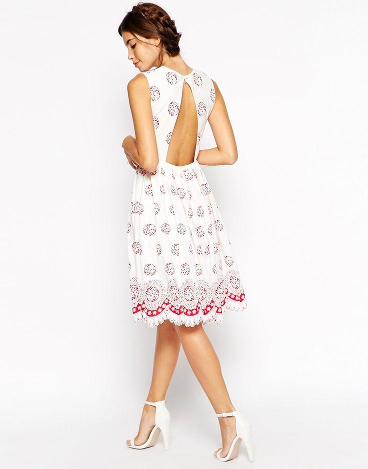 Image 2 ofASOS PETITE  Midi Dress in Broderie Anglaise