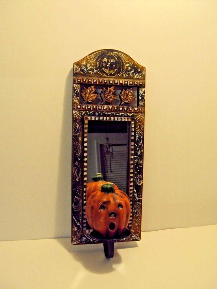 OOAK Halloween Spooky Pumpkin Wall Mirror Candle Holder w Candle  Hand Painted ! #Halloween