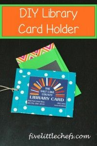 Hey look, is the library card from the library I work at! :)  DIY Library Card Holder from fivelittlechefs.com #diy #library #kidscrafts