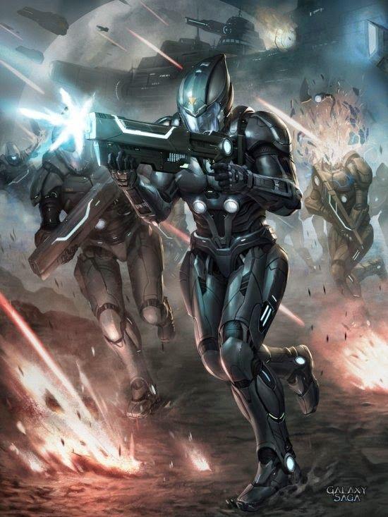 Soldados futuristas e robôs nas ilustrações de ficção científica de Chris Ng Fhze Yang