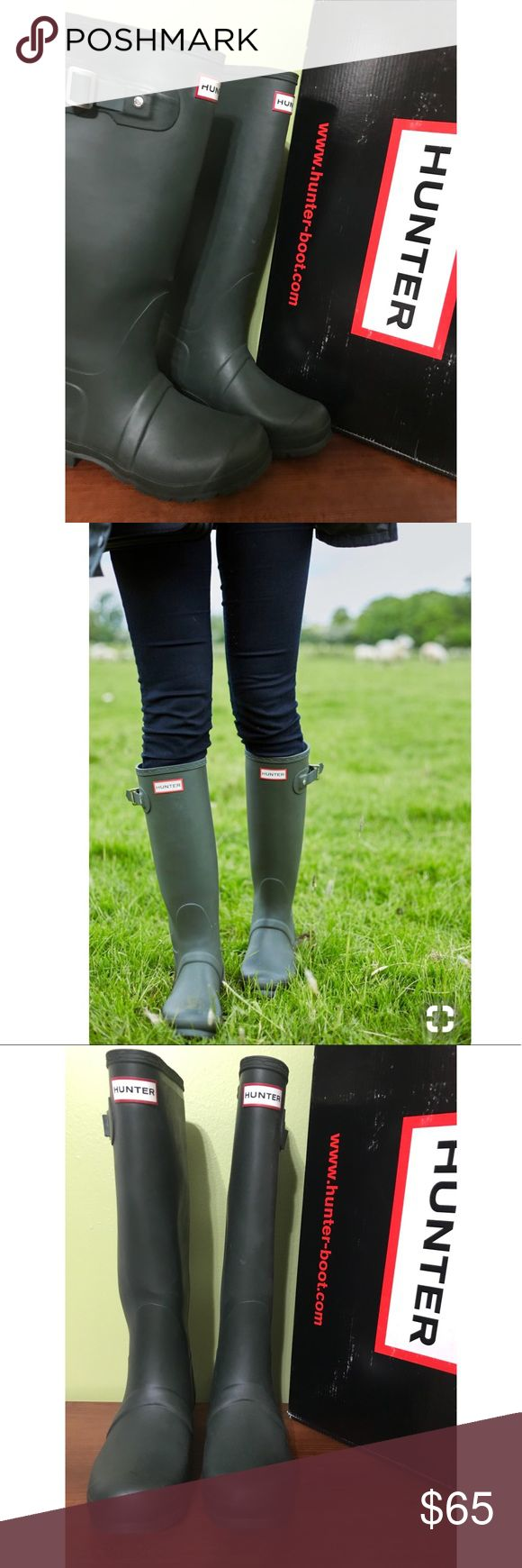 Authentic - Dark Olive Tall Hunter Rain Boots Dark Olive matte like hunter boots. Excellent condition, worn ONLY once - like new with original box.  Size US6/7F, UK5,EU38. - Style # W23499.ñ Hunter Boots Shoes Winter & Rain Boots