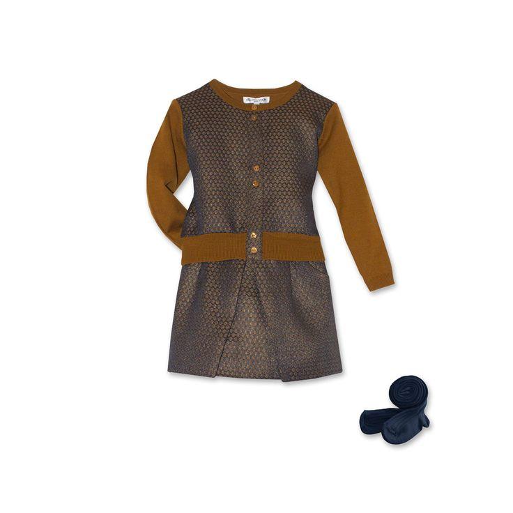 Look fille #Bleucommegris Hiver 2014-2015 Ensemble jupe et pull, ocre, or et bleu marine