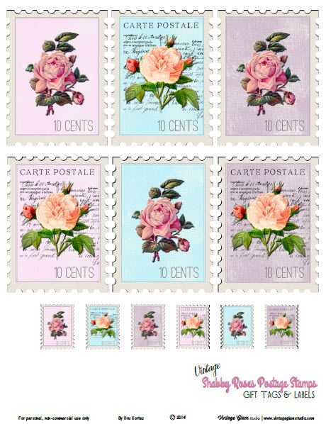 Free Printable Vintage Shabby Roses Postage Stamps from Vintage Glam Studio