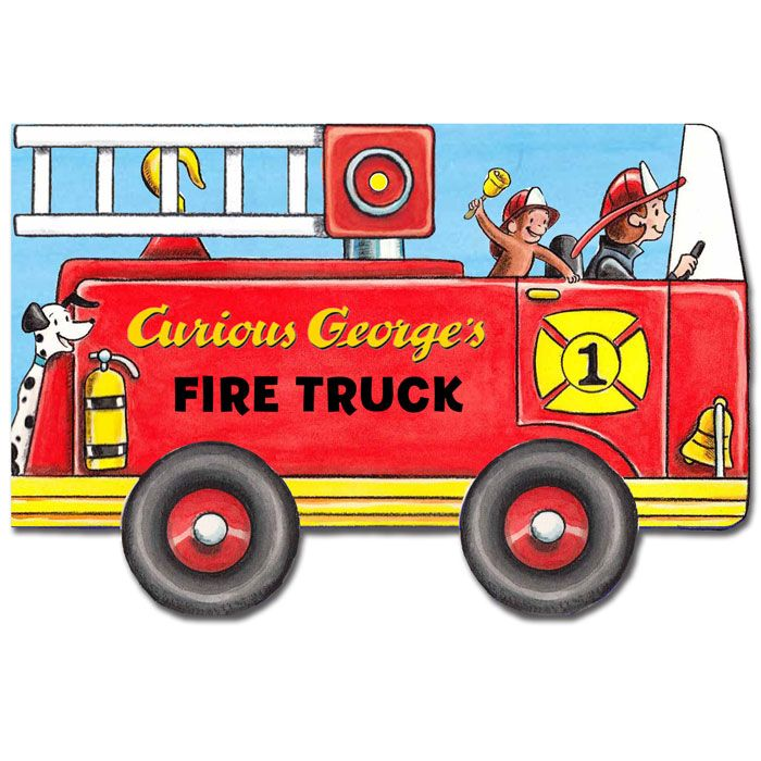 New in June of 2014: Come along for a ride with Curious George's Fire Truck—an innovative novelty book that's shaped like a truck! George loves to visit his friends at the fire station. When the alarm sounds, he and the firefighters are off to the rescue. #StayCurious