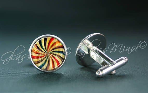 Rainbow Spiral Cufflinks, Groomsmen Usher Cufflinks, Wedding Cufflinks, Gift for Him, Shirt Cufflinks, Geekery Science Physics Lovers Gift