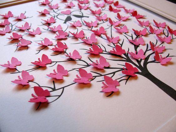 11 x 14 - 3D arbre de papillons. Personnalisés en bas. Occasion spéciale. Mariage. Anniversaire. VOTRE choix de couleurs. Fabriqué sur commande