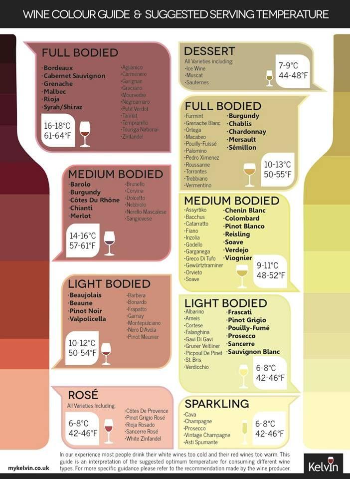 Temperatura sugeridas para servir el vino. #vino #wine