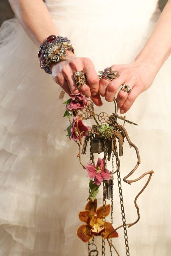 Steampunk keys & chains wedding bouquet alternative. :: Open Aire Affairs. Unique. Events. Venues. www.openaireaffairs.com::