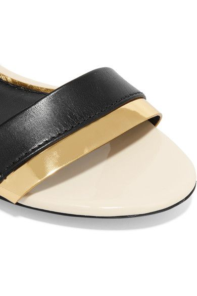 Lanvin - Metallic-trimmed Leather Sandals - Black - IT38.5
