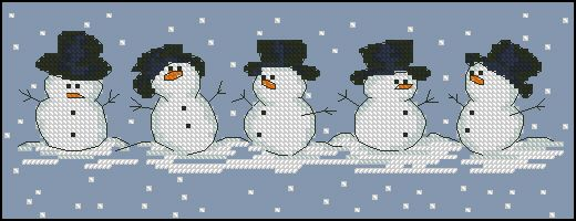 "Free cross-stitch pattern ""Snowmen"" Fabric: Aida 14, Blue 127w X 46h Stitches Size(s): 14 Count, 23.04w X 8.35h cm"