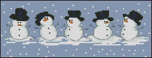 "Free cross-stitch pattern ""Snowmen"" Fabric: Aida 14, Blue 127w X 46h Stitches Size(s): 14 Count, 23.04w X 8.35h cm"