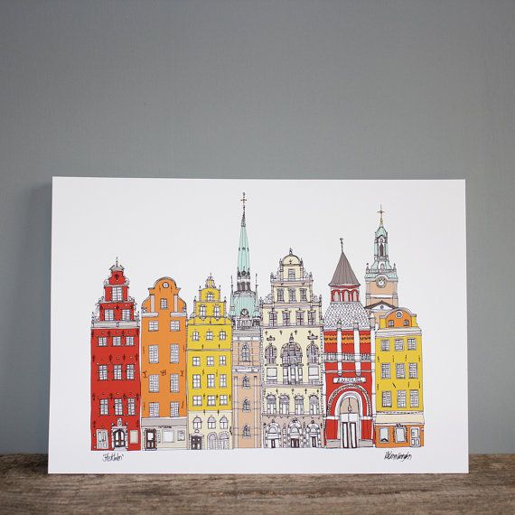 Stockholm Print Cityscape A4 Illustration by helenacarrington