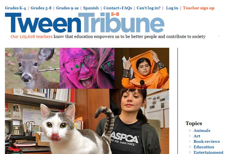Tween Tribune - great free website with news articles for elementary and middle school students.