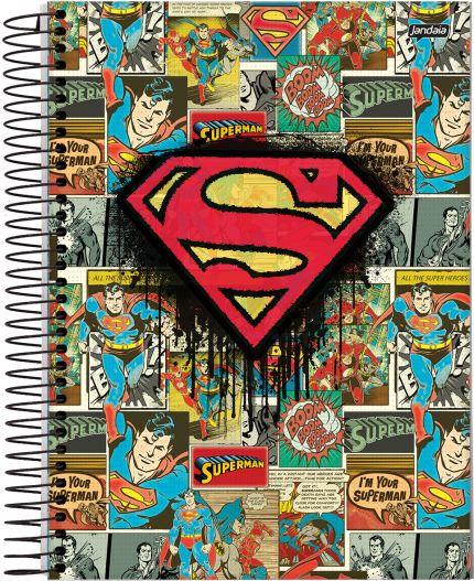 Caderno Espiral Universitário Capa Dura 10X1 200 Folhas - Dc Comics Super Homem VAC17 - Capa única