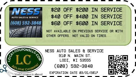 Coupon in Lodi WI for NESS AUTO SALES & SERVICE from Local Coupons LLC.