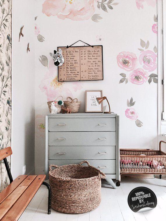Vintage Fl Vinyl Set Watercolor Flowers Wall Decals Blooming Roses Decor Pink Flower Stickers Nursery 21w