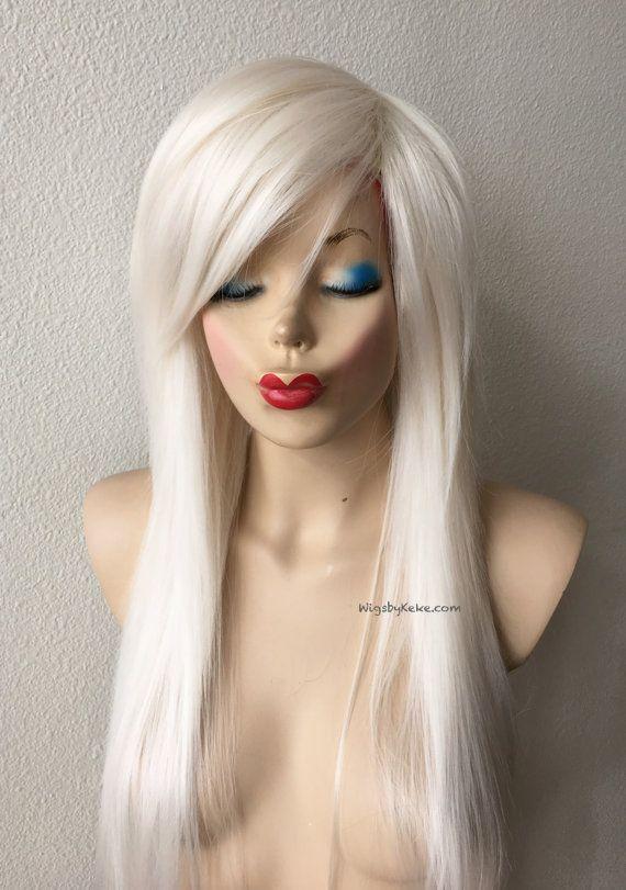 Scene wig. White Blonde wig. Scene hair Razor cut long by kekeshop