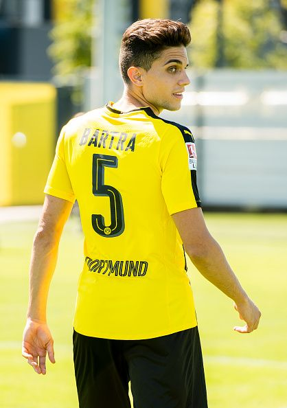 Dortmund's Marc Bartra poses during the team presentation of Borussia Dortmund on August 17 2016 in Dortmund Germany