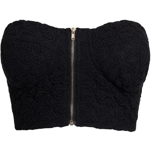 Nly Trend Crochet Bralet ($22) ❤ liked on Polyvore featuring tops, shirts, crop tops, black, womens-fashion, zip crop top, bandeau top, zipper shirt, cotton shirts and crochet bandeau top