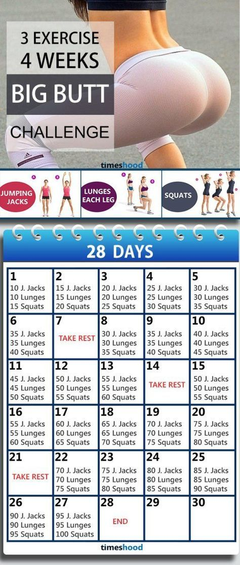 3 Exercise and 4 Weeks Butt workout plan for fast results. Butt workout for beginners. Butt workout challenge at home without any instruments. 28 Days bigger butt workout plan.