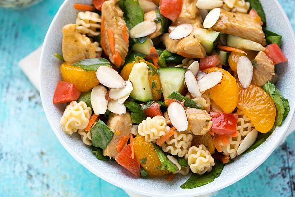 Mandarin Chicken Pasta Salad with Sliced Almonds