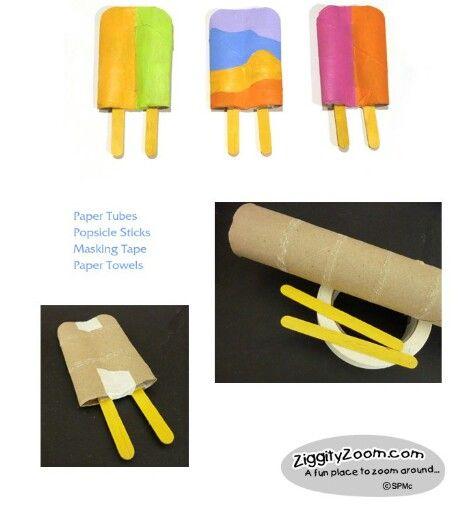 Zomeractiviteit: maak een ijsje. Bijv. van een keukenrol.