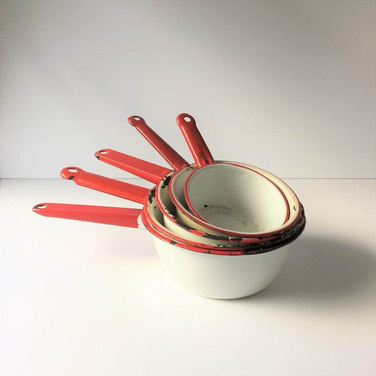 Enamelware Saucepans, Vintage Red and White Enamel Pots, Five Enamelware Saucepans, Farmhouse Saucepans, Chippy Retro Kitchen Camping  Pans by AlegriaCollection on Etsy