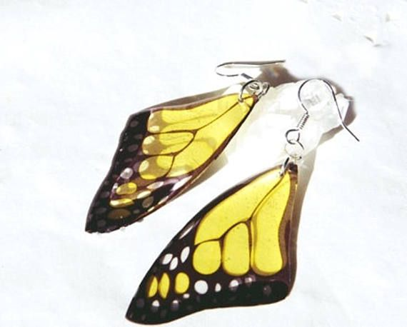 05ee7873c #Christmas #earrings #jewelry Yellow butterfly earrings Butterfly Wing  Earrings Glass