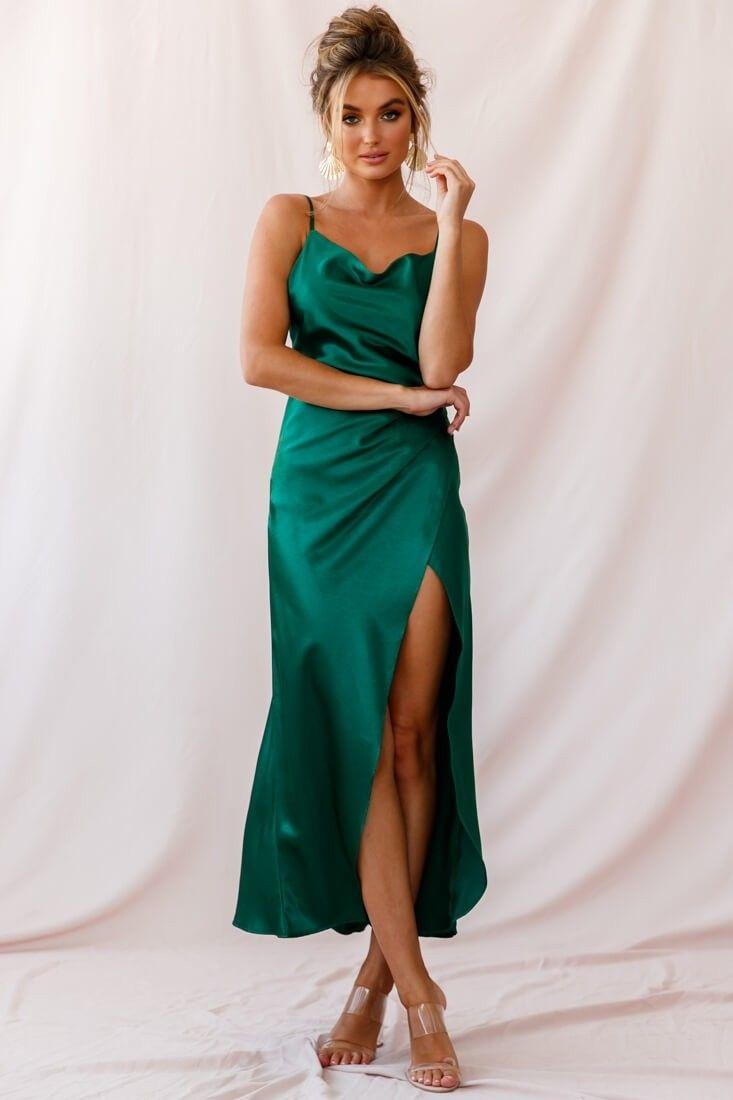 Hey Girl Long Satin Cowl Neck Dress Forest Green Green Satin Dress Satin Dress Long Cowl Neck Dress
