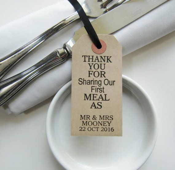 60 Wedding Napkin Holders-Wedding Table Decor-Thank You for Sharing Our First Meal-Unique Wedding Favors-Weddings-Rustic Wedding Table