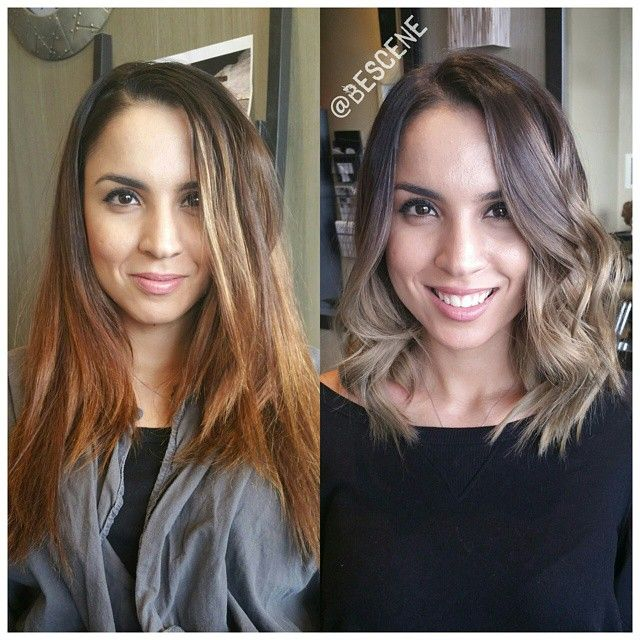 Cut her hair into a textured long bob ( and gave her a beautiful Ash Blonde Balayage Ombre and bumped her base to and ash brown.